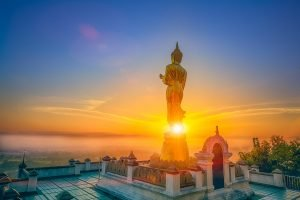 30 ft tall Blessing Buddha/Wat Phra That Khao Noi/Stunning 180-degree views from the summit of the temple over Nan