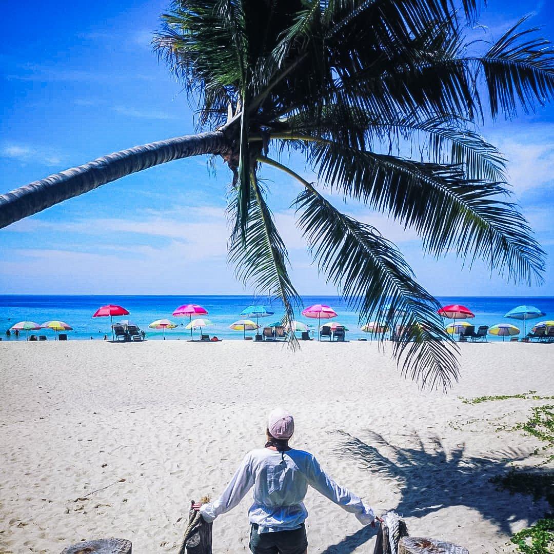 Beautiful Laem Sign Beach Chanthaburi and people enjoying on Laem Sign Beach Chanthaburi Thailand.