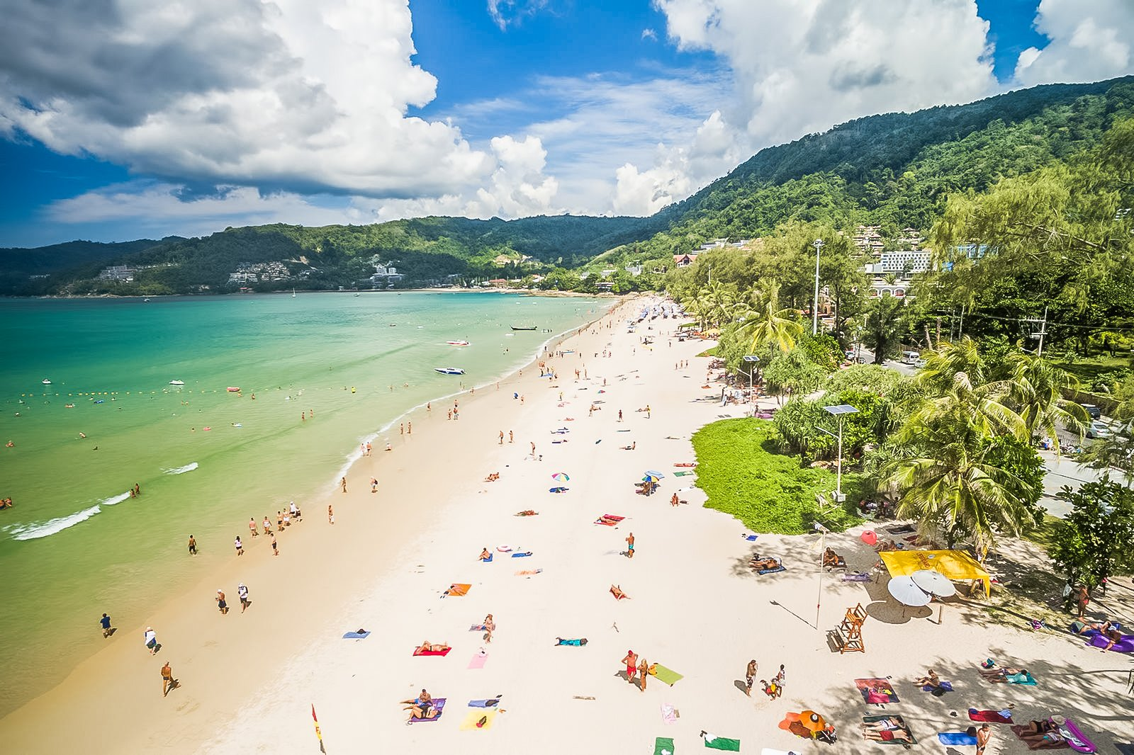 Patong Beach is famous for its golden sandy beach located in Phuket, Thailand.