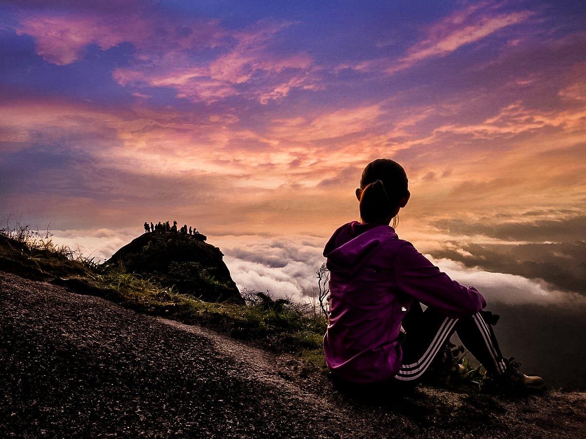 Amazing view of Sunset in Pha Hin Kub Chanthaburi Thailand.