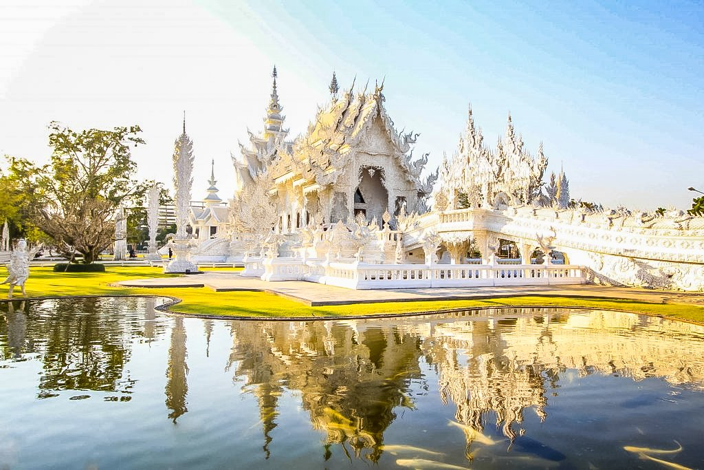 Wat Rong Khun, better known as The White Temple, is located in Northern Thailand near Chang Rai.