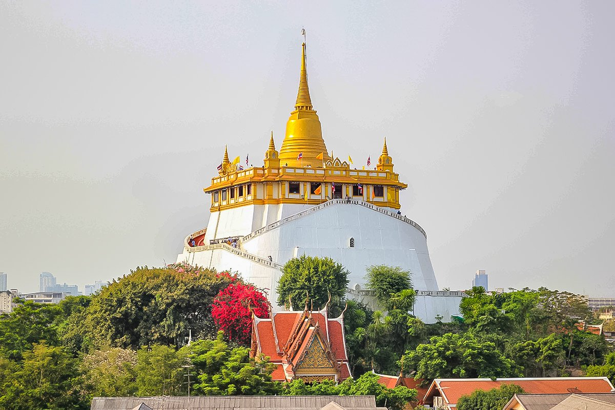 Wat Saket, or the Temple of the Golden Mount, Bangkok, is an ancient temple.